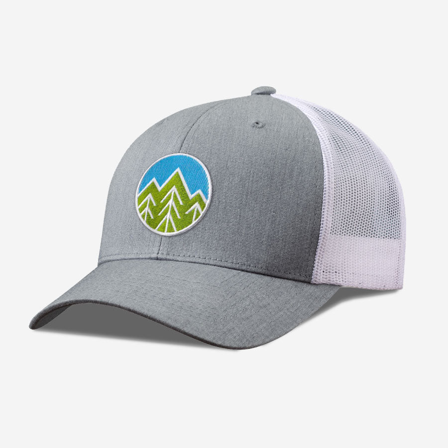 Sky Trees Trucker Hat - Grey White
