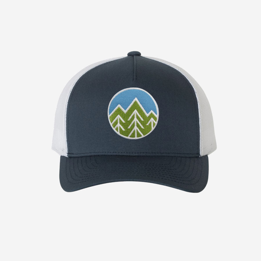 Sky Trees Trucker Hat Navy/White