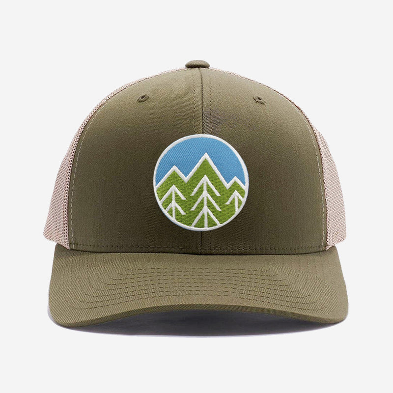 Sky Trees Trucker Hat - Khaki Green