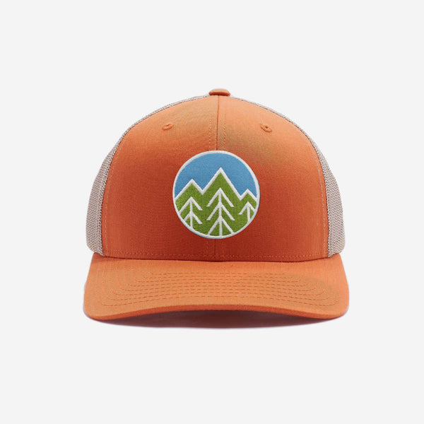 Sky Trees Trucker Hat - Khaki Orange