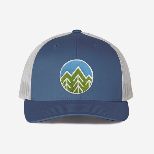 Sky Trees Trucker Hat - Steel Blue / Silver