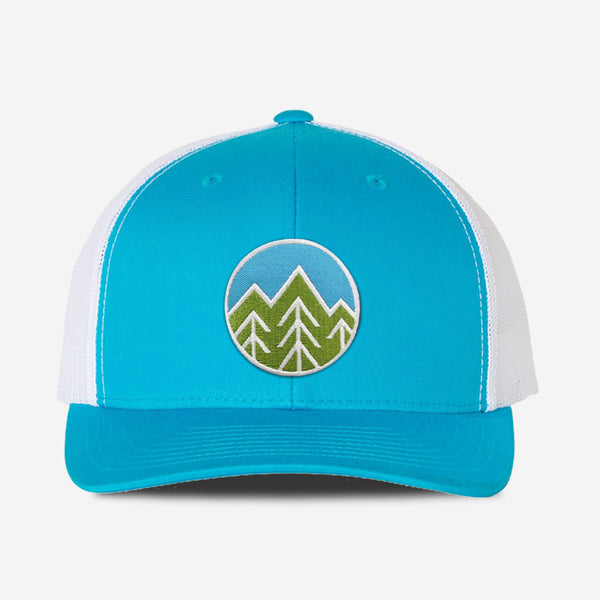 Sky Trees Trucker Hat - Turquoise/White