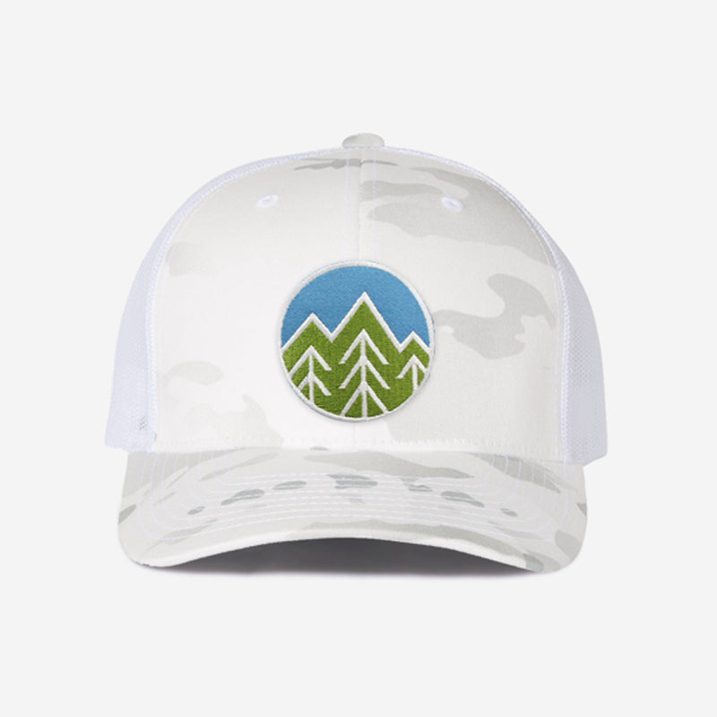 Sky Trees Trucker Hat - White Camo