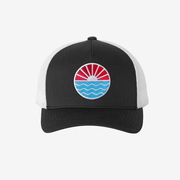 Sun Wave Trucker Hat - Black And White