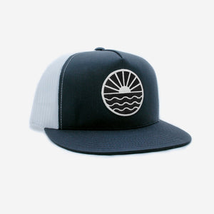 Sun Wave Flat Brim Trucker Hat - Black And White