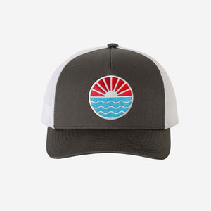 Sun Wave Trucker Hat - White Charcoal