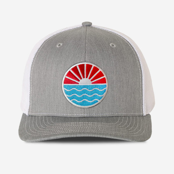 Sun Wave Trucker Hat - Grey / White