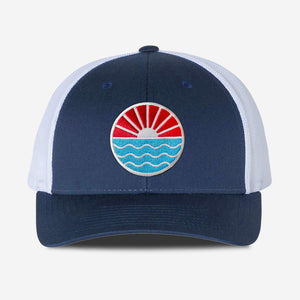 Sun Wave Trucker Hat - Navy White