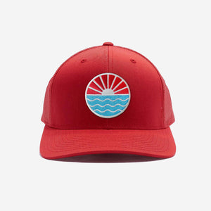 Sun Wave Trucker Hat Red