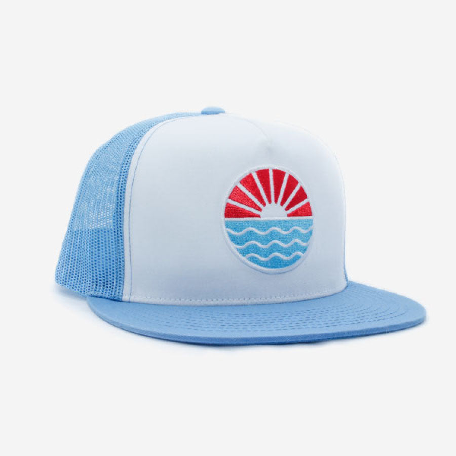 Sun Wave Trucker Hat Flat Brim Blue