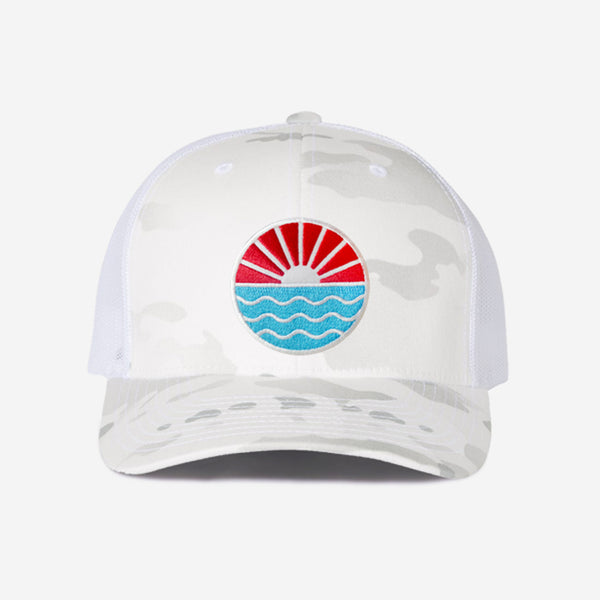 Sun Wave Trucker Hat - White Camo