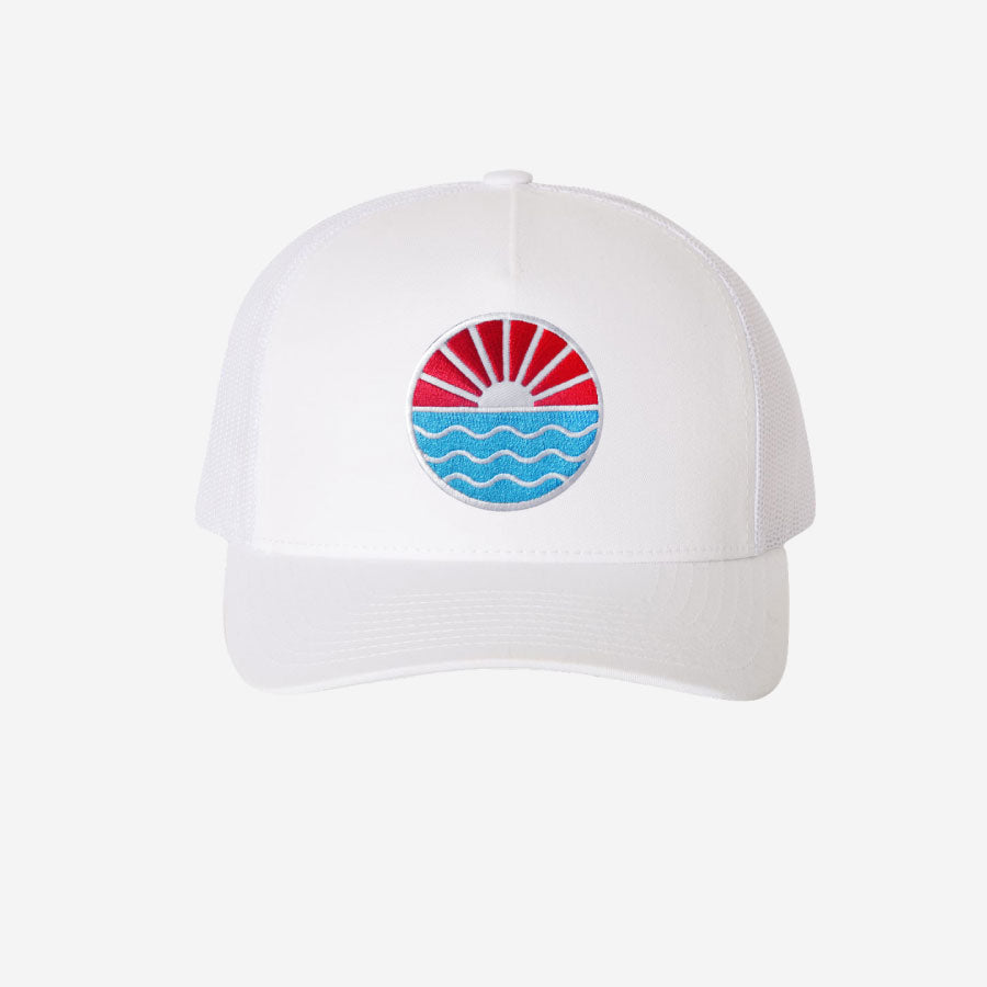 Sun Wave Trucker Hat White
