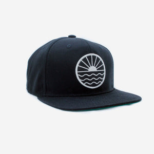 Sun Wave Flat Brim Hat - Black