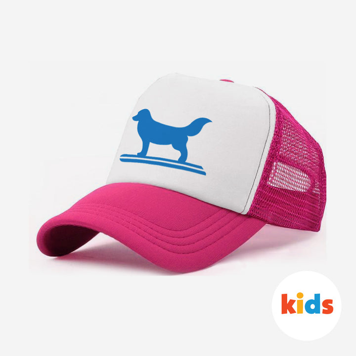 Surf Dog Trucker Hat For Kids - Pink