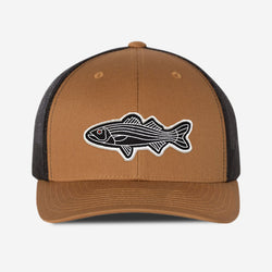 Bass Fish Trucker Hat - Camel/Black