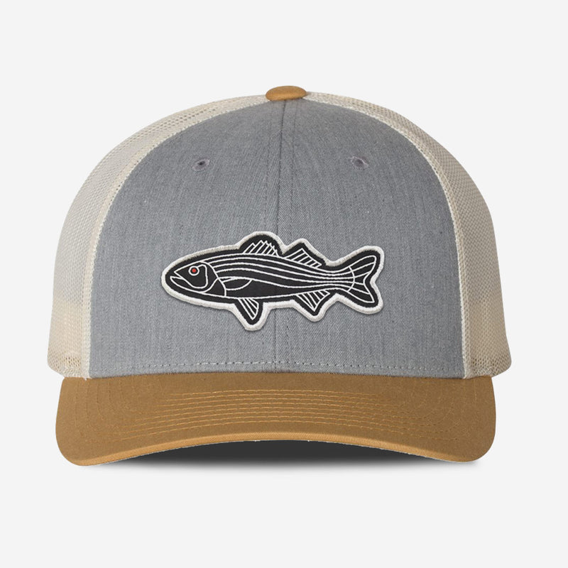 Bass Fish Trucker Hat - Grey Birch