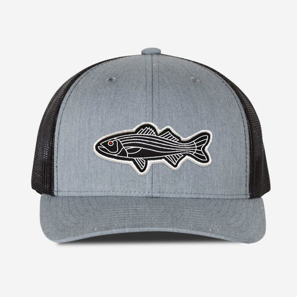 Bass Fish Trucker Hat - Grey/Black