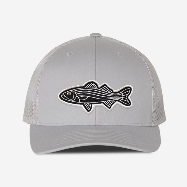 Bass Fish Trucker Hat - Silver