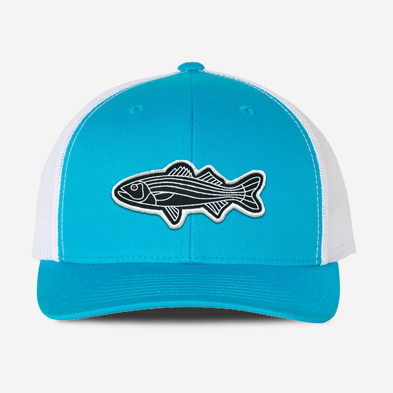 Bass Fish Trucker Hat - Turquoise/White