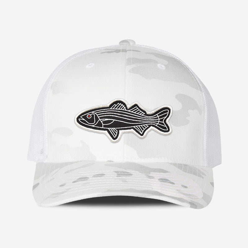 Bass Fish Trucker Hat - White Camo