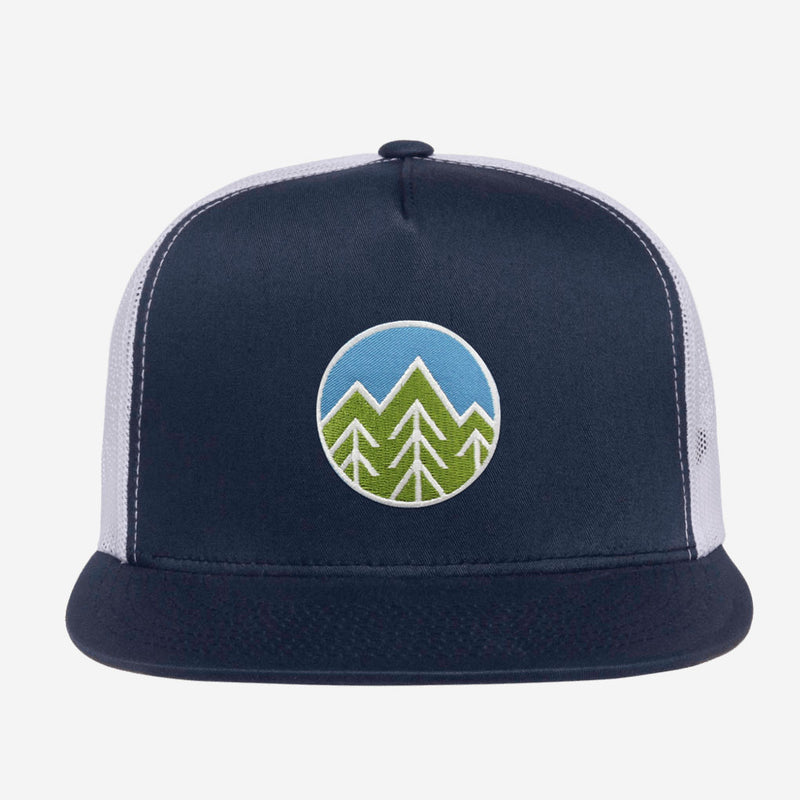 Sky Trees Flat Brim Trucker Hat