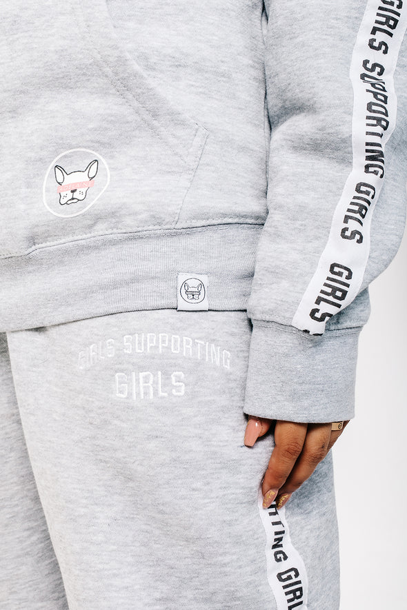 ADELAINE MORIN GIRLS SUPPORTING GIRLS HEATHER GREY TRACKSUIT HOODIE