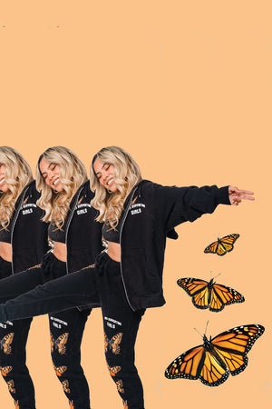 'Girls Supporting Girls' Butterfly Black Zip Up Hoodie