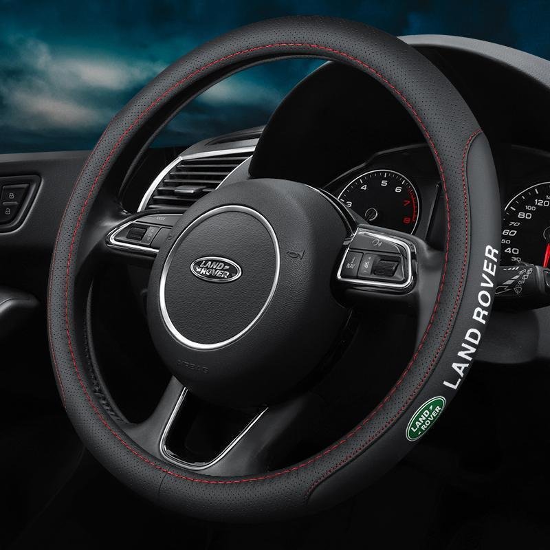 (HOT SALE!!)Cowhide Steering Wheel Cover with Car Logo