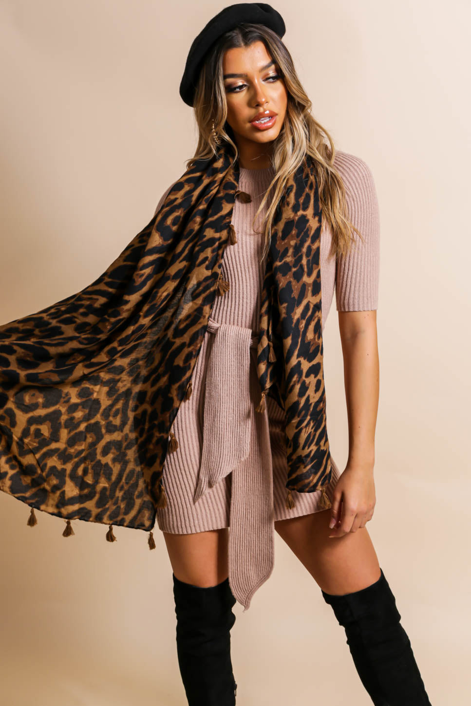 Here Kitty Kitty - Scarf In DARK/LEOPARD
