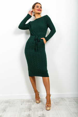 Knit's Complicated - Dress In FOREST