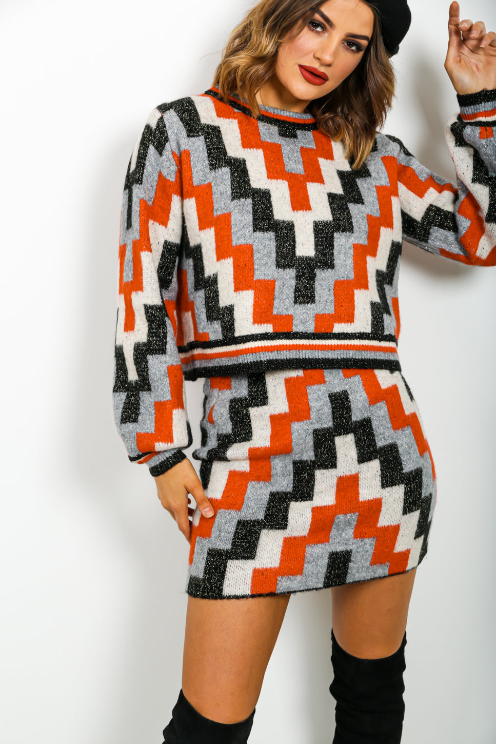 The Perfect Match - Co-ord In ORANGE/ZIGZAG