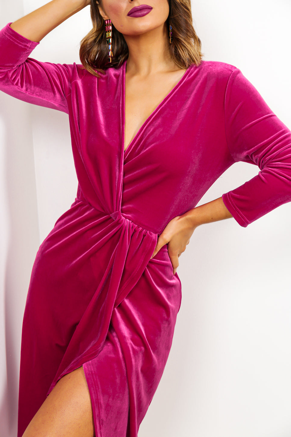Love At First Sight - Midi Dress In HOTPINK/VELVET