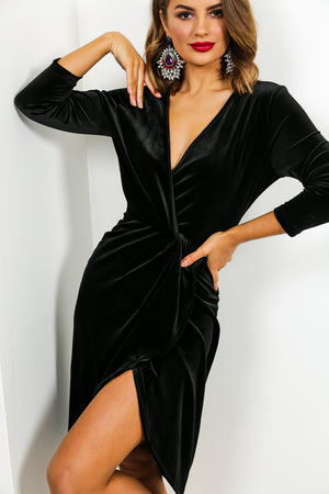 Love At First Sight - Midi Dress In BLACK/VELVET