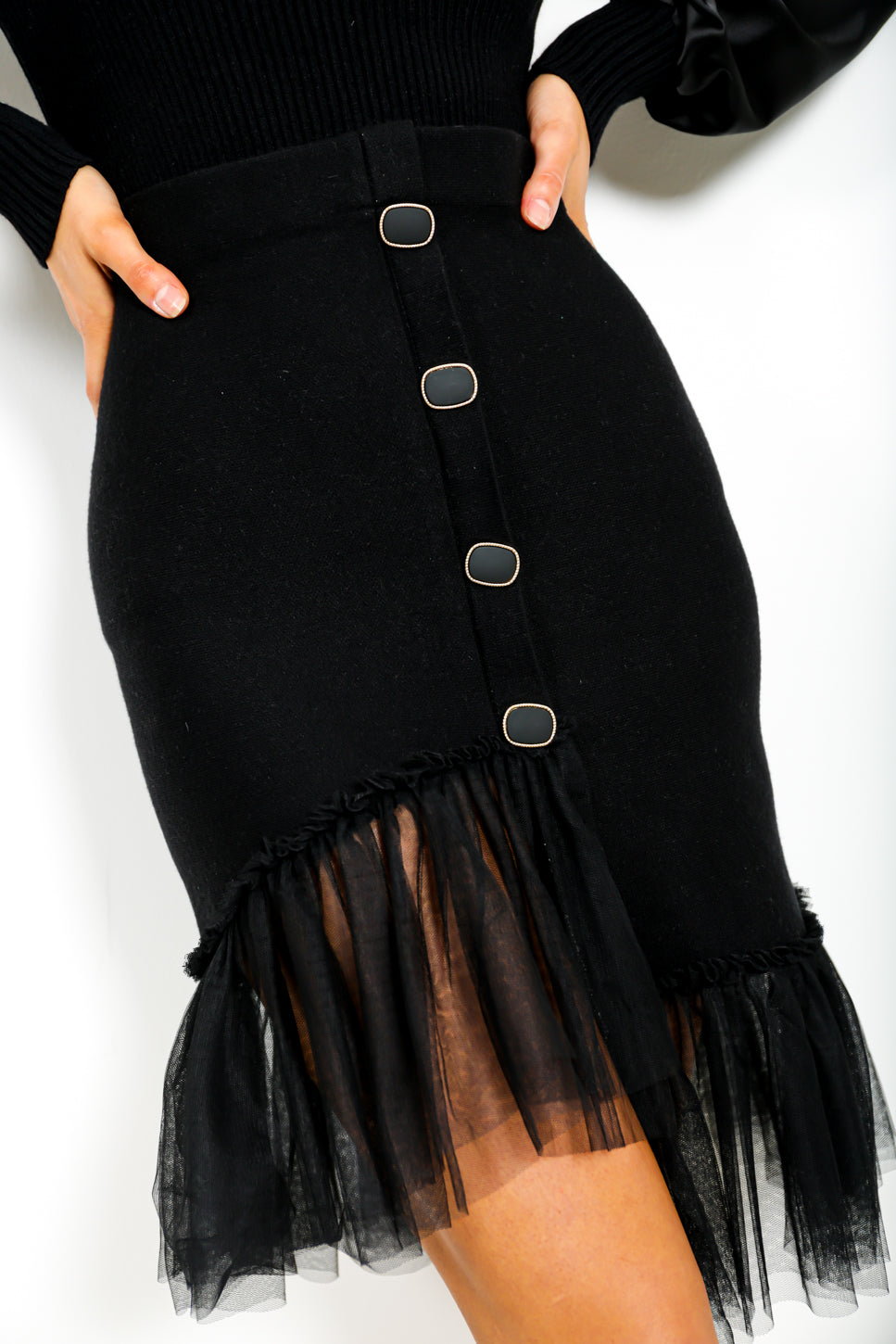 Mesh Behaviour - Midi Skirt In BLACK