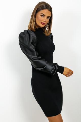 Leather Too Late - Dress In BLACK
