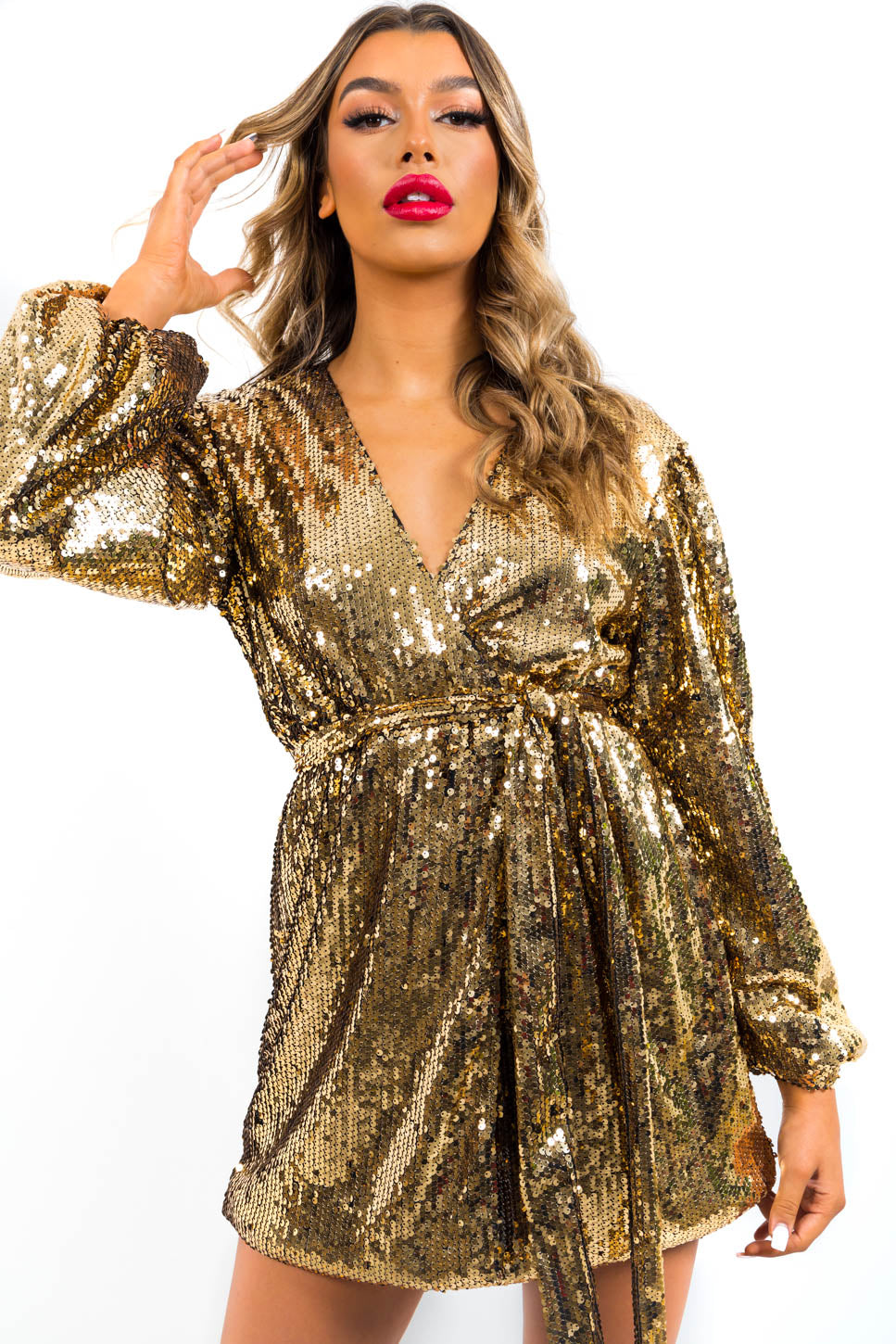 Blame It On The Boogie - Mini Dress In GOLD/SEQUIN