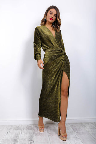 Dance To The Sequins - Midi Dress In GREEN