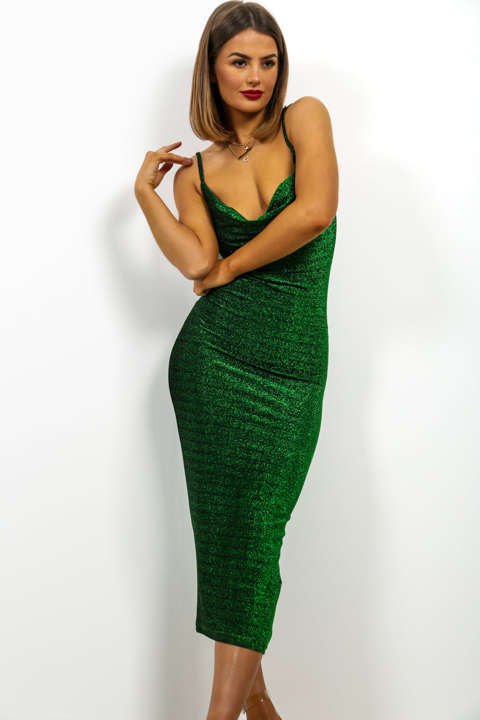 Cowl Play - Midi Dress In GREEN/LUREX