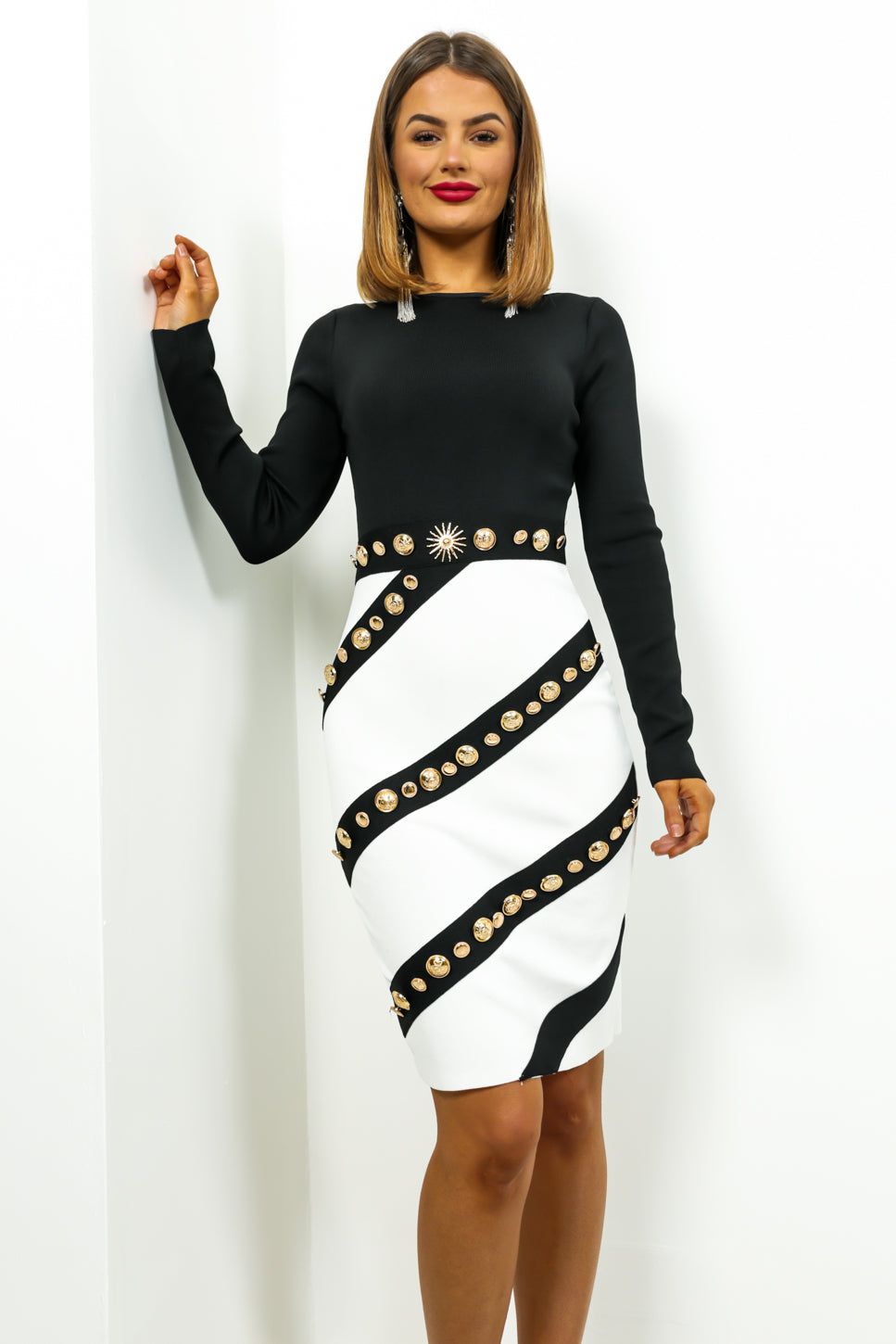 Gold Mine - Dress In BLACK/WHITE