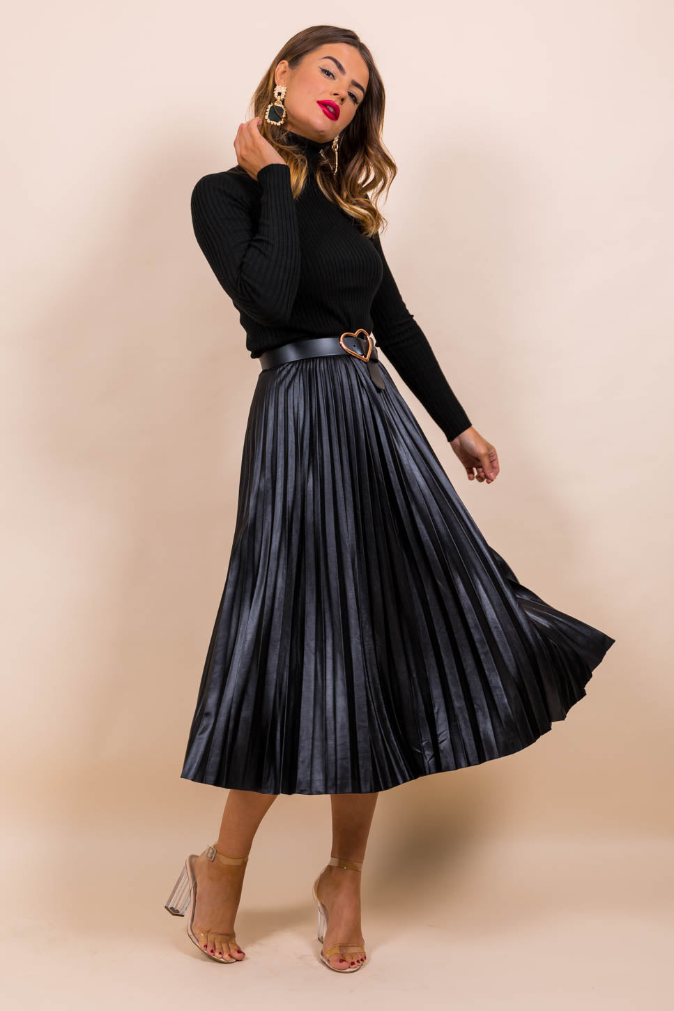 Pleat Me Halfway - Midi Skirt In BLACK