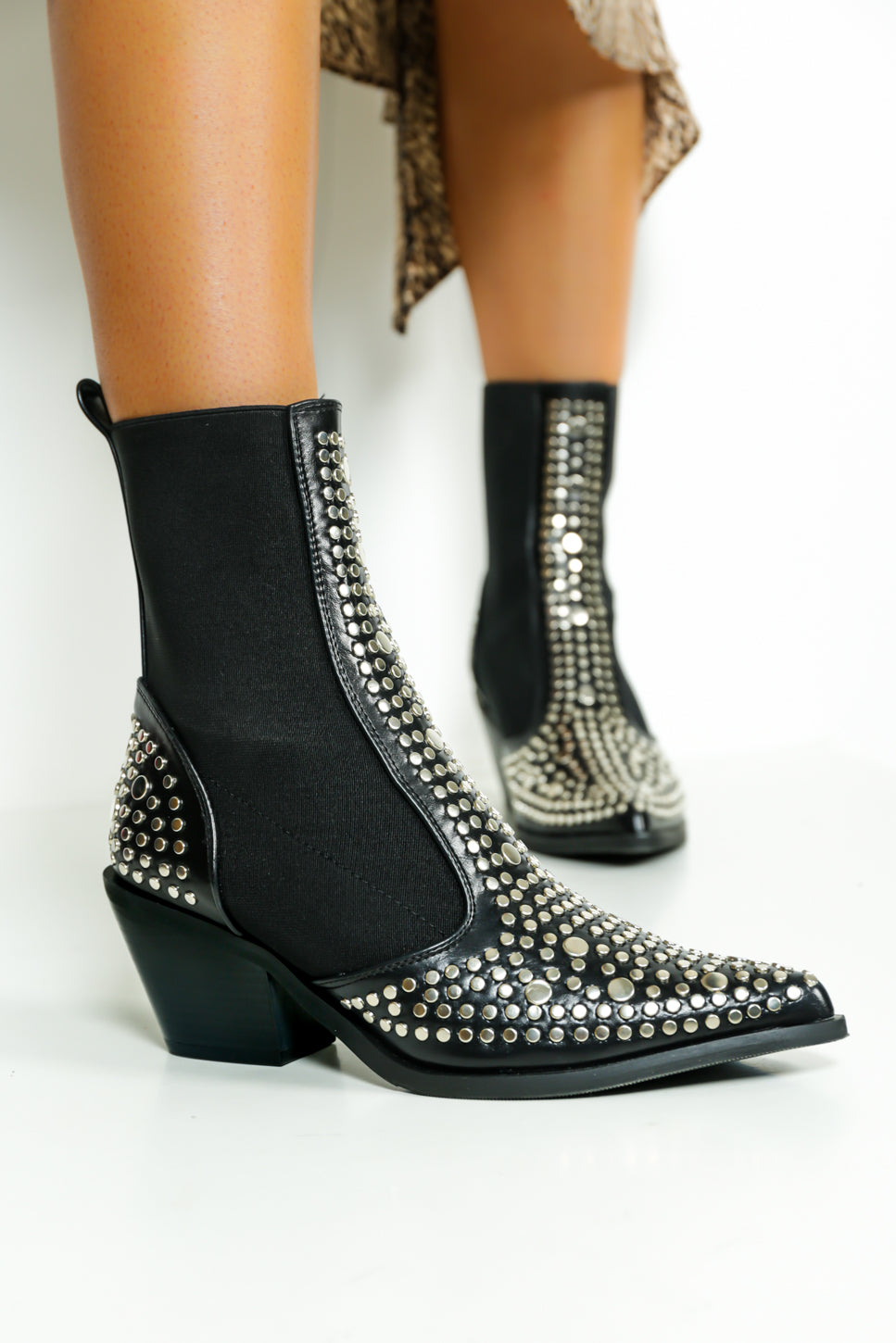Show Down - Boots In BLACK/SILVER