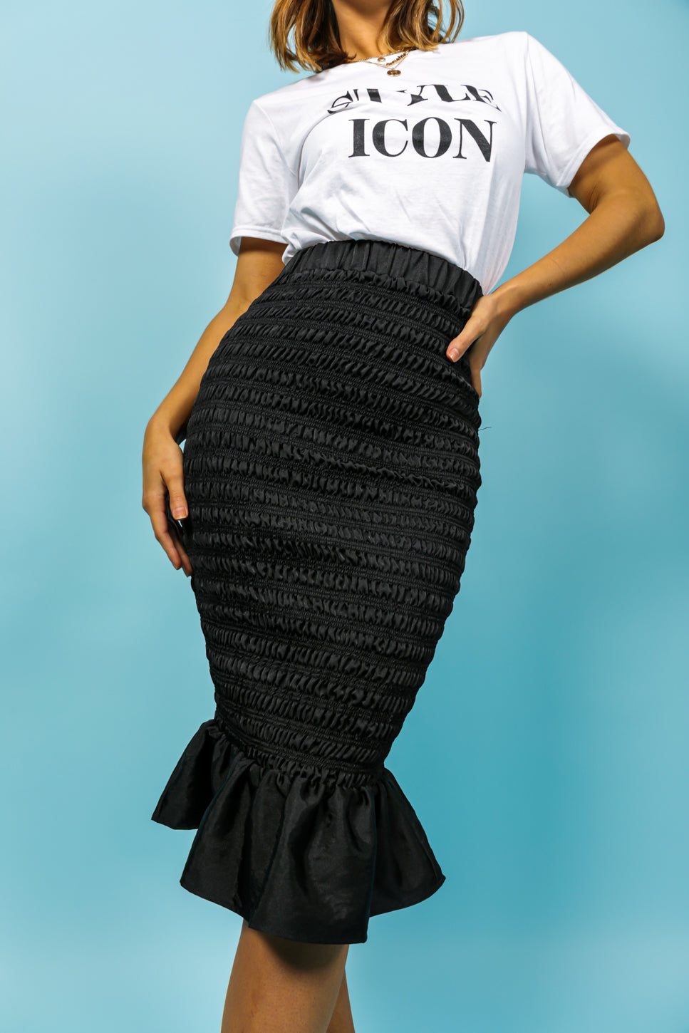 Rest A-shirred - Midi Skirt In BLACK