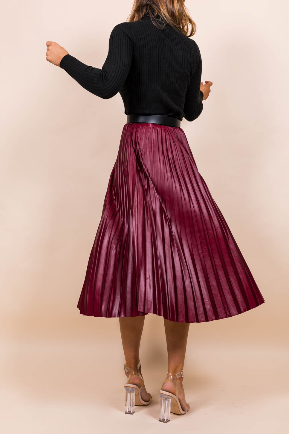 Pleat Me Halfway - Midi Skirt In WINE