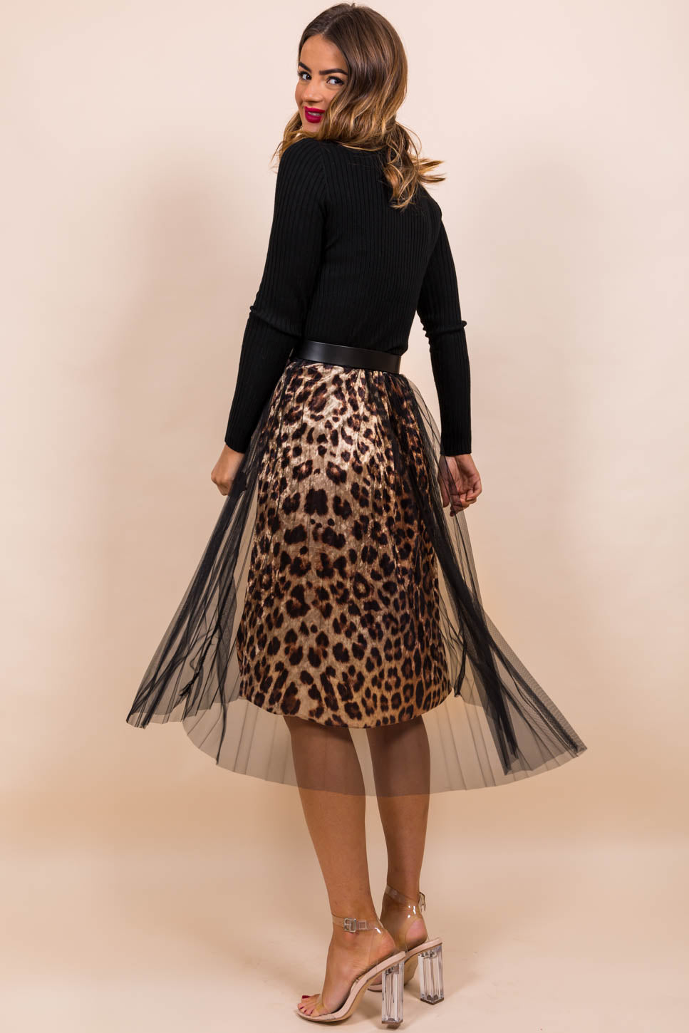 Catch Meowt - Midi Skirt In LEOPARD/BLACK