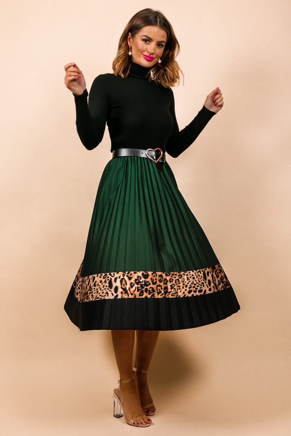 Best Pleat In The House - Midi Skirt In FOREST/LEOPARD