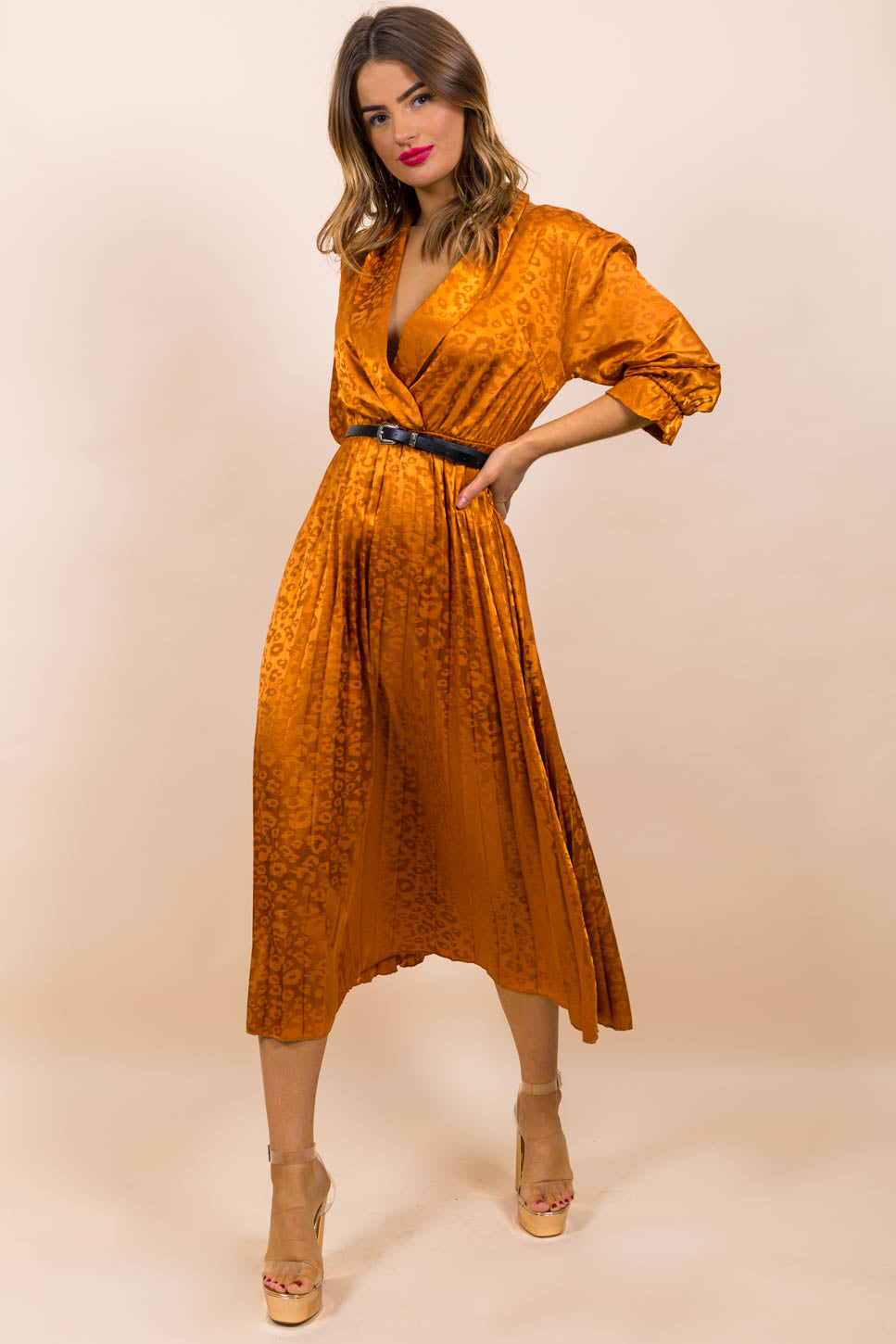 Finest Moment - Midi Dress In RUST/WESTERN-BELT