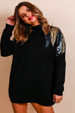Knit Your Girl - Jumper In BLACK/SEQUIN