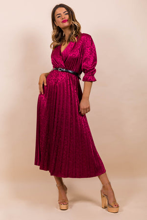 Finest Moment - Midi Dress In WINE/WESTERN-BELT