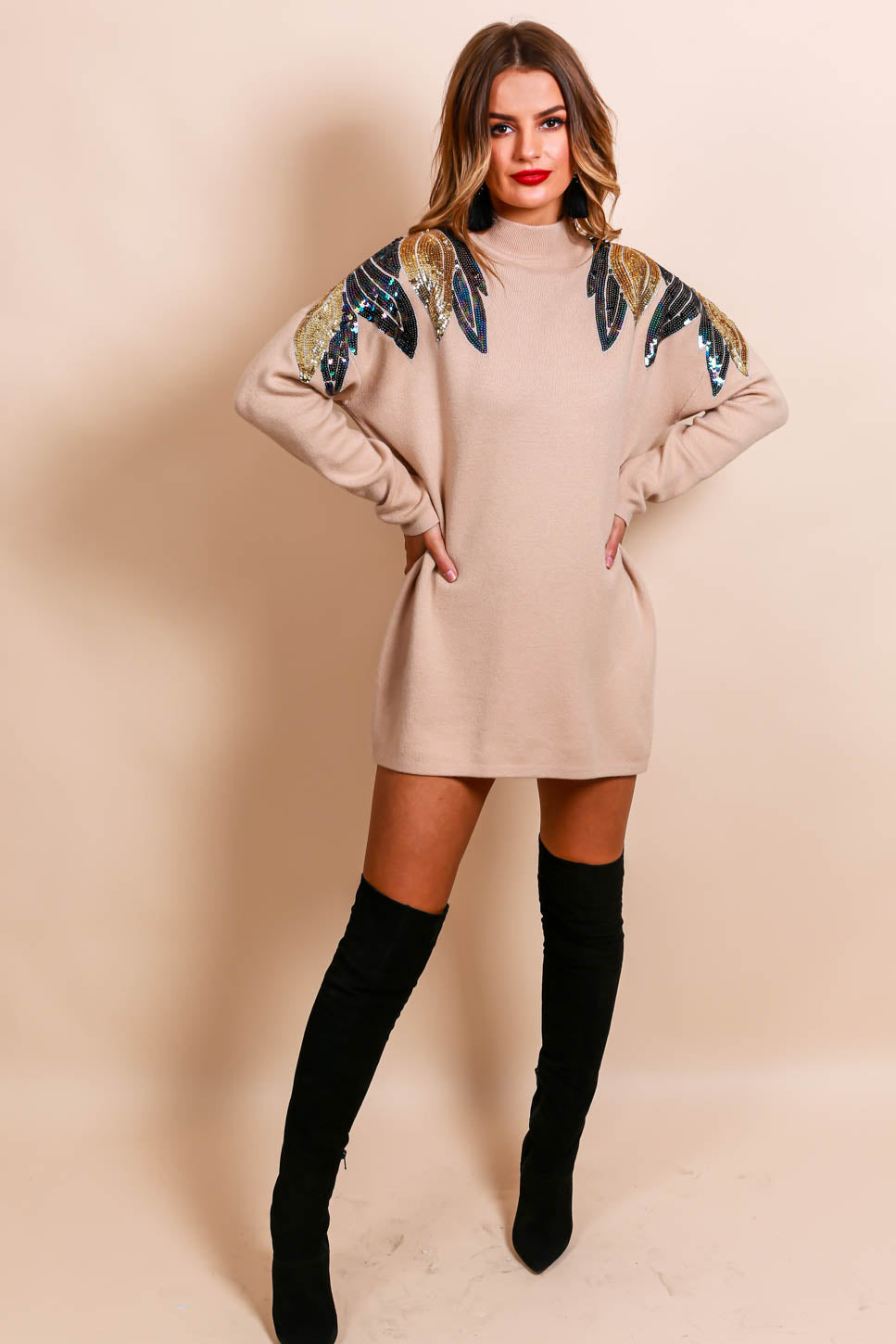 Knit Your Girl - Jumper In BEIGE/SEQUIN