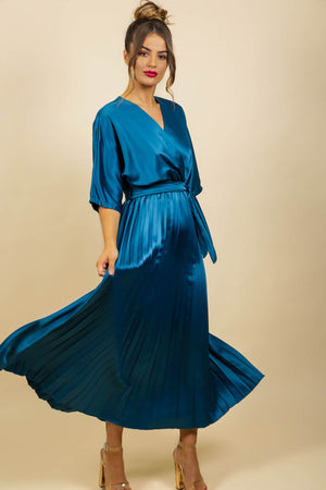 Pleat Me Right - Dress In TEAL